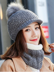 Lady Korea Style Fashion Warm Two Piece Hats For Winter