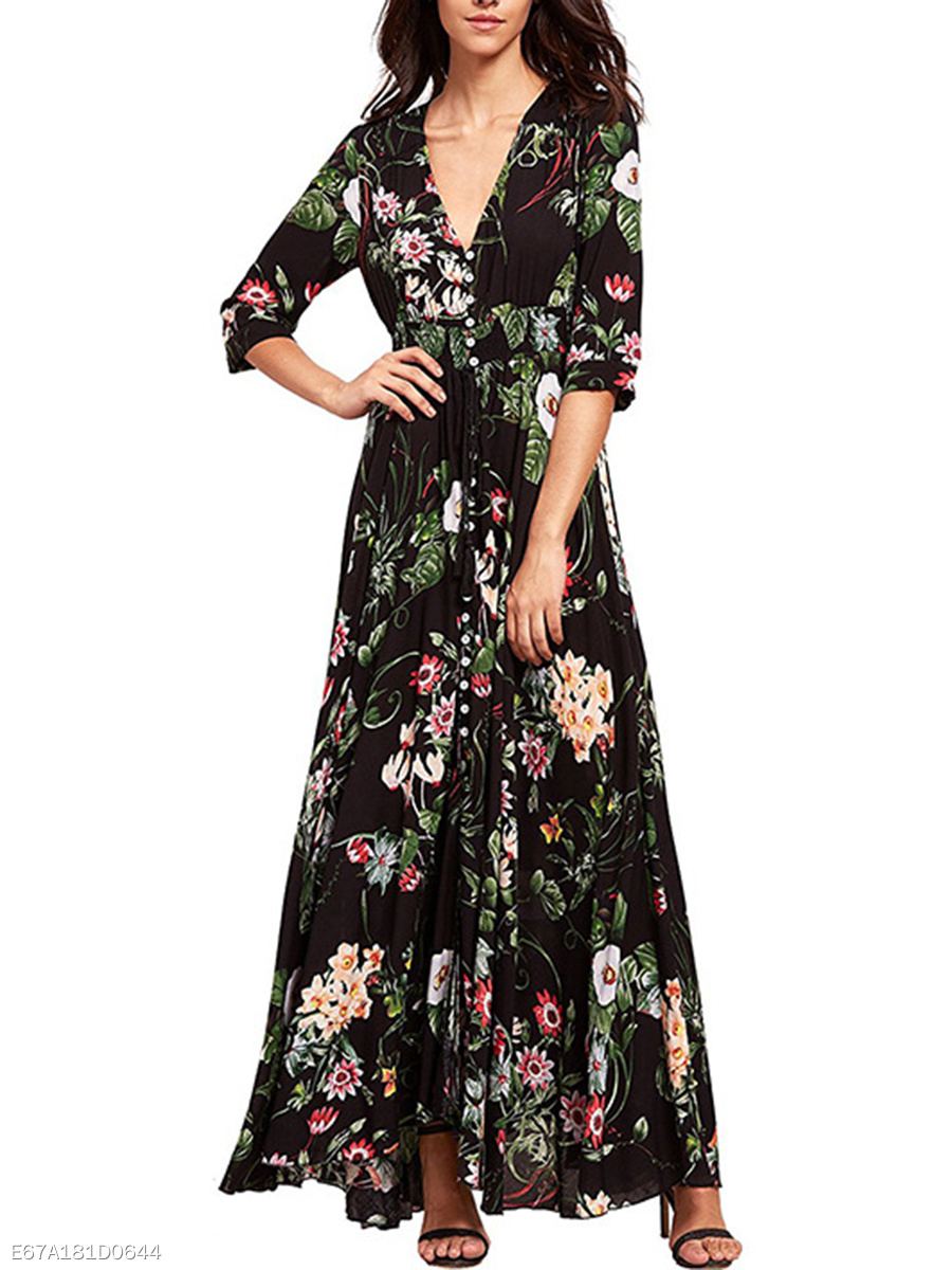 Deep V-Neck Floral Printed Elastic Waist Maxi Dress
