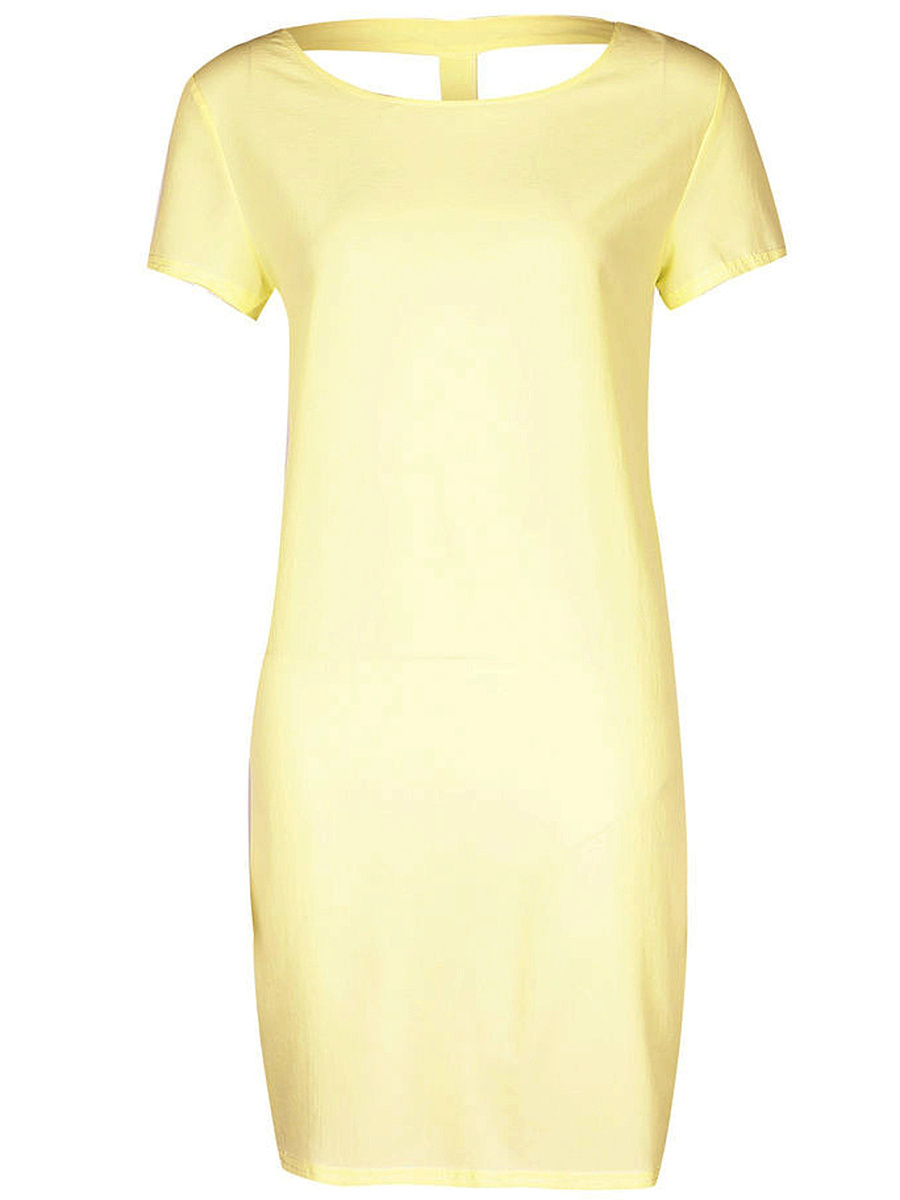 Solid Back Hole Round Neck Shift Dress
