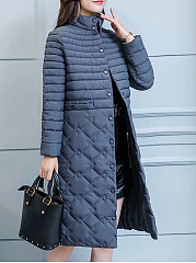 Band Collar  Single Breasted Slit Pocket  Quilted  Plain  Long Sleeve Coats