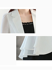 Notch Lapel  Flounce  Single Button  Plain  Half Sleeve Blazers