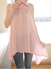 Summer  Chiffon  Women  Turn Down Collar  Asymmetric Hem  Plain  Sleeveless Blouses