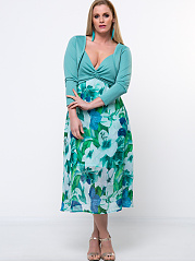 Spaghetti-Strap-Floral-Empire-Two-Piece-Plus-Size-Flared-Dress