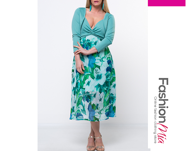material:polyester, pattern_type:floral, length:calf-length, occasion:date,party, season:autumn,spring, dress_silhouette:empire line,flared, package_included:two-piece dress*1, lengthshouldersleeve lengthbustwaist