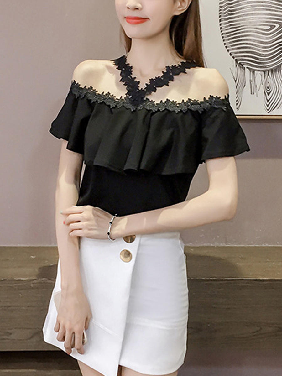 Open Shoulder  Decorative Lace Blouse