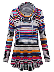 Autumn Spring Winter  Women  Cowl Neck  Asymmetric Hem  Color Block Striped Long Sleeve T-Shirts
