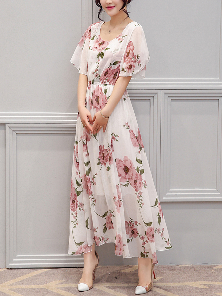 Chic Round Neck Floral Printed Chiffon Maxi Dress ...