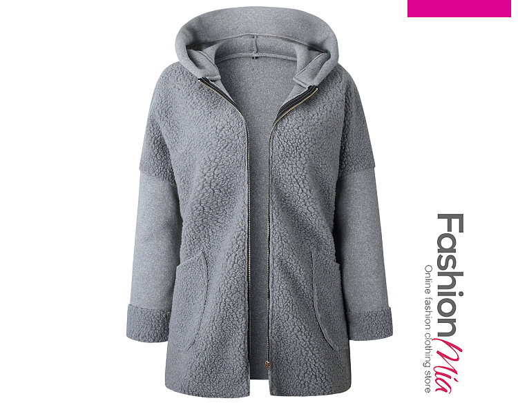 Hooded Zips Plain Long Sleeve Coats - $25.95