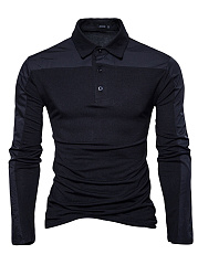 Men Polo Collar  Patchwork T-Shirt