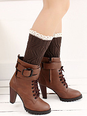 Hollow Out Lace Knitting Boots Short Leg Warmers