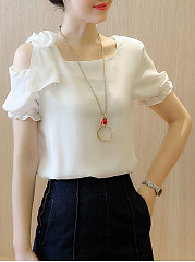 Summer  Polyester  Women  One Shoulder  Plain  Short Sleeve Blouses