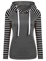 Kangaroo Pocket Striped Raglan Sleeve Hoodie