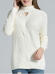 Round Neck  Cutout  Plain Knit Pullover