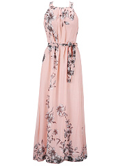 Round Neck Swing Floral Printed Vacation Chiffon Maxi Dress