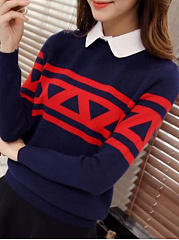Polo Collar  Patchwork  Patchwork Knit Pullover