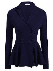 Lapel  Double Breasted Peplum  Plain Blazer