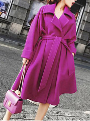 Lapel Plain Pocket Belt Woolen Wrap Trench Coat