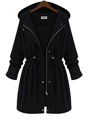 Hooded  Drawstring  Decorative Hardware  Plain  Long Sleeve Trench Coats