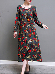 Round Neck Slit Pocket Floral Printed Maxi Dress