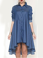 Turn Down Collar  Asymmetric Hem  Plain Shift Dress