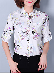 Autumn Spring  Polyester  Women  Patch Pocket Single Breasted  Floral Printed  Long Sleeve Blouses