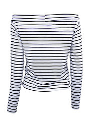 Boat Neck  Patchwork  Striped Casual T-Shirts