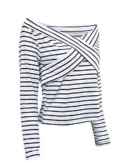 Autumn Spring Summer  Cotton  Women  Boat Neck  Patchwork  Striped Long Sleeve T-Shirts