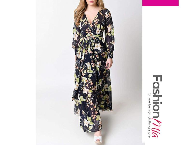 V-Neck  Belt  Printed Putt Sleeve Maxi Dresses