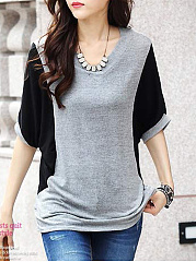 Summer  Cotton  Women  Round Neck  Plain Short Sleeve T-Shirts