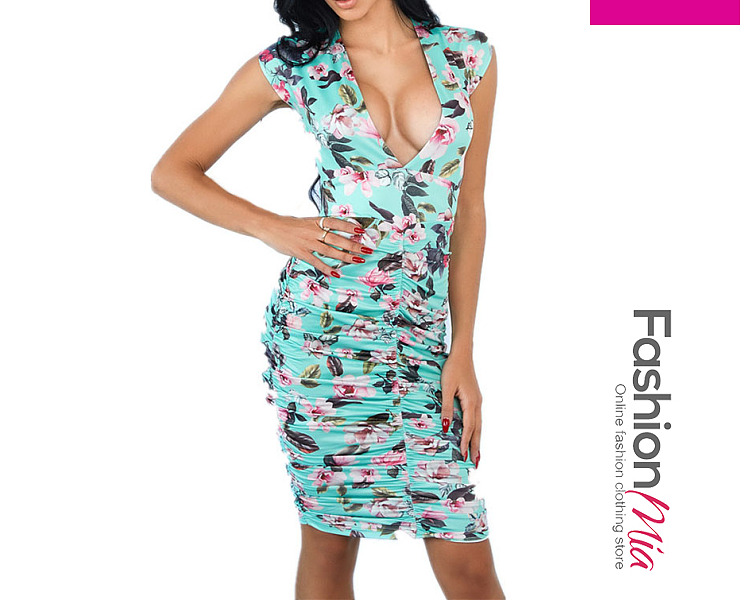 Deep V-Neck  Floral Bodycon Dress