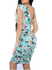 Deep V-Neck  Floral Bodycon Dress