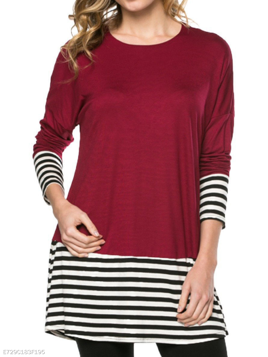 Round Neck  Loose Fitting  Stripes Long Sleeve T-Shirts