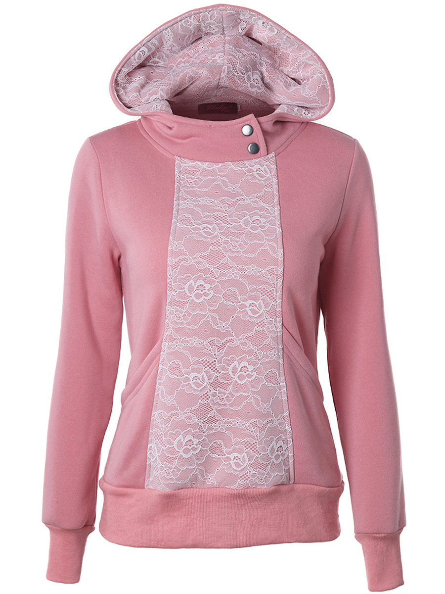 Decorative Lace Pocket Hoodie