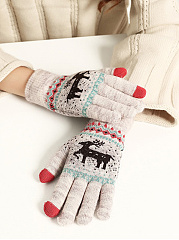 Soft Thick Woolen Striped Moose Cotton Gloves
