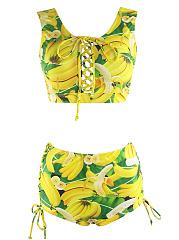 Round-Neck-Lace-Up-Banana-Printed-Swimwear
