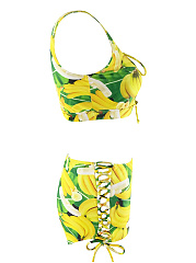 Round Neck Lace-Up Banana Printed Swimwear