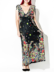 Deep V-Neck  Printed Plus Size Midi & Maxi Dresses