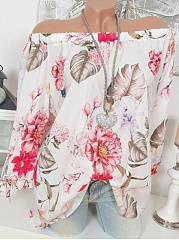 Boat Neck  Loose Fitting  Print Blouses
