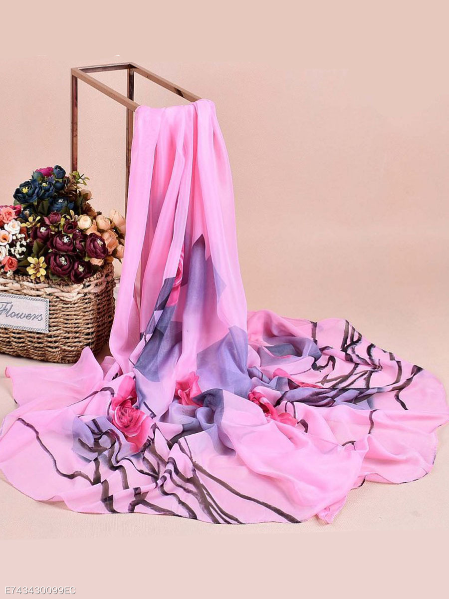 Women  Chiffon Scarf Travel Rose Flowers Breathable Scarves
