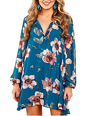 Split Neck  Casual Printed Shift Dress