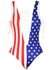 Lace-Up-Deep-V-Neck-Hollow-Out-Printed-One-Piece