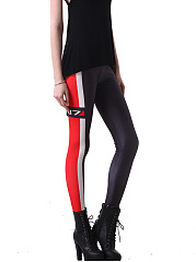 Sexy High Stretch  Asymmetric Stripe  Slim-Leg  High-Rise Leggings