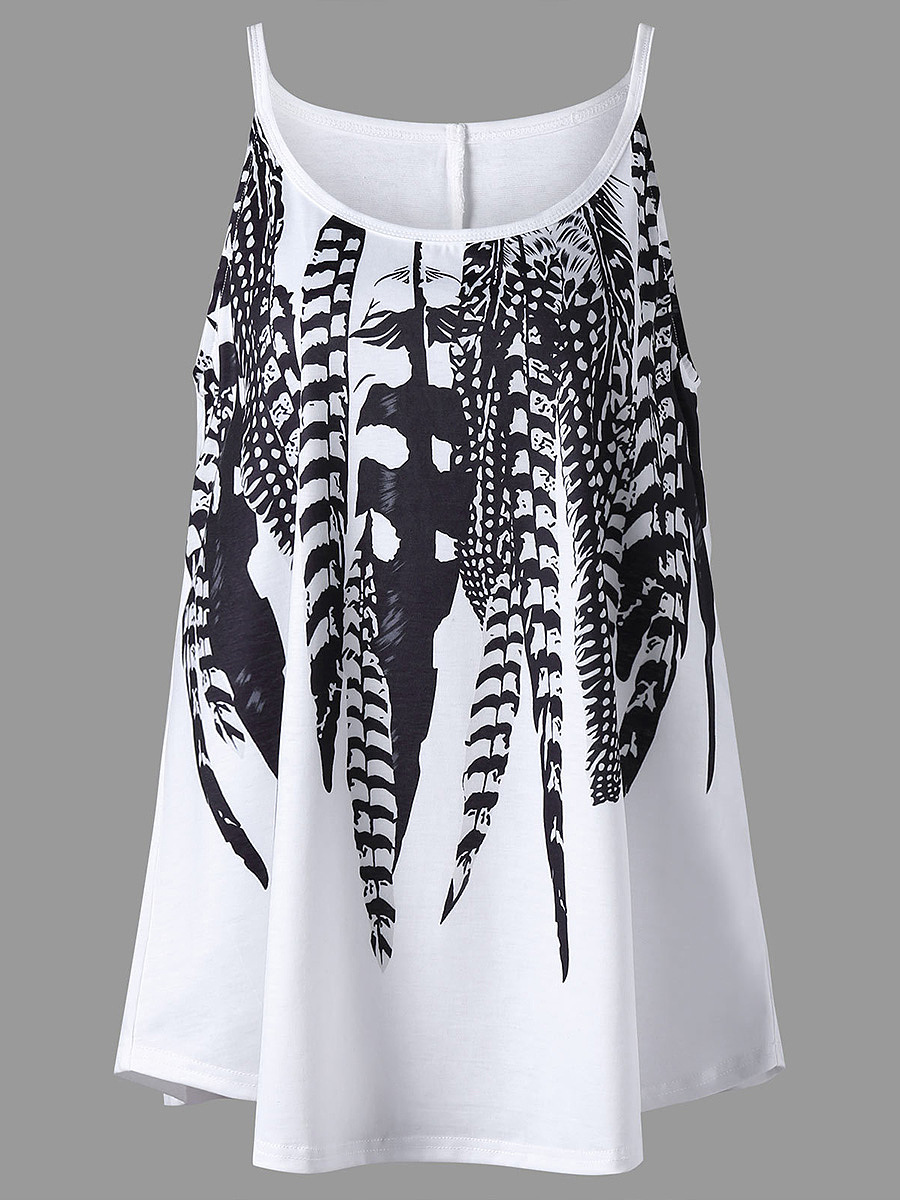 Spaghetti Strap  Feather Printed Sleeveless T-Shirt