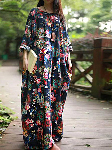 Round Neck  Printed Plus Size Midi  Maxi Dress