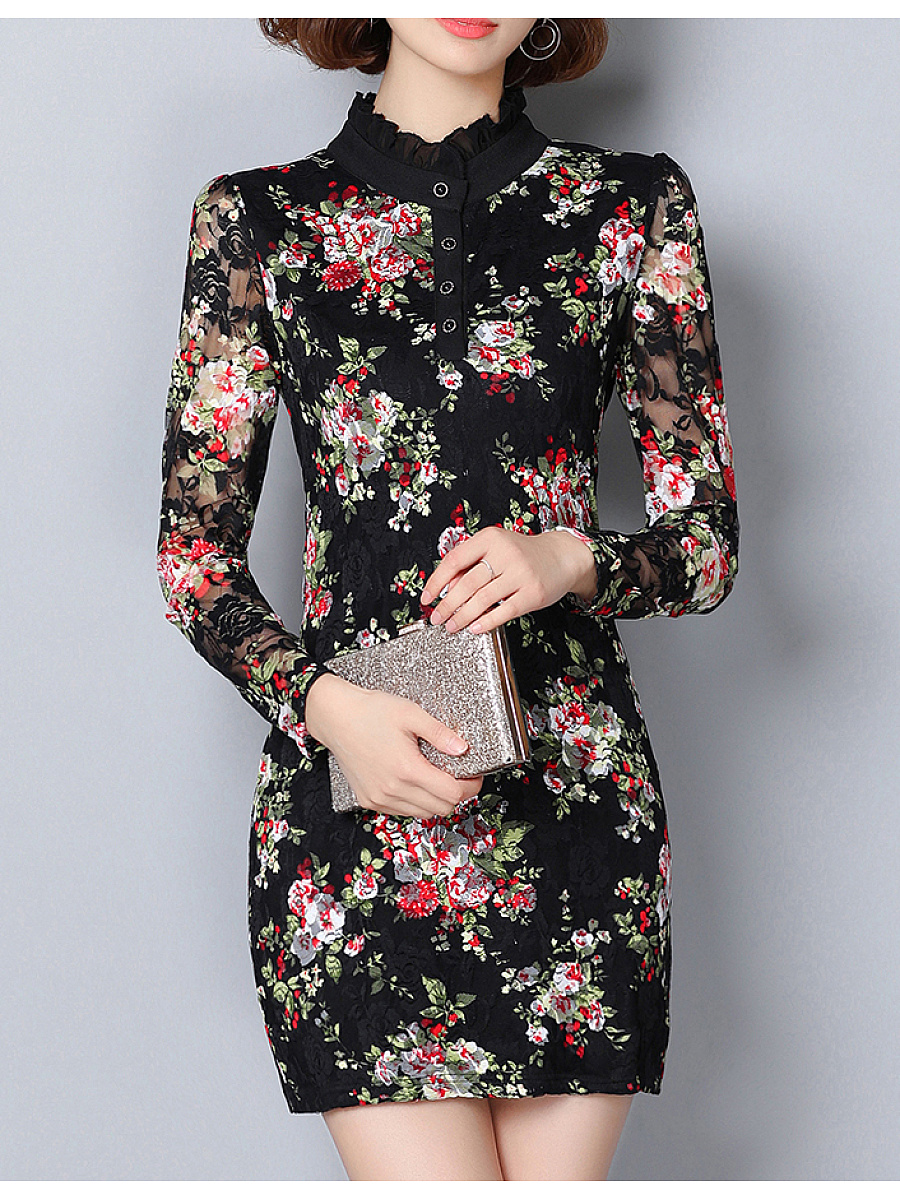 Band Collar Floral Printed Lace Hollow Out Bodycon Dress