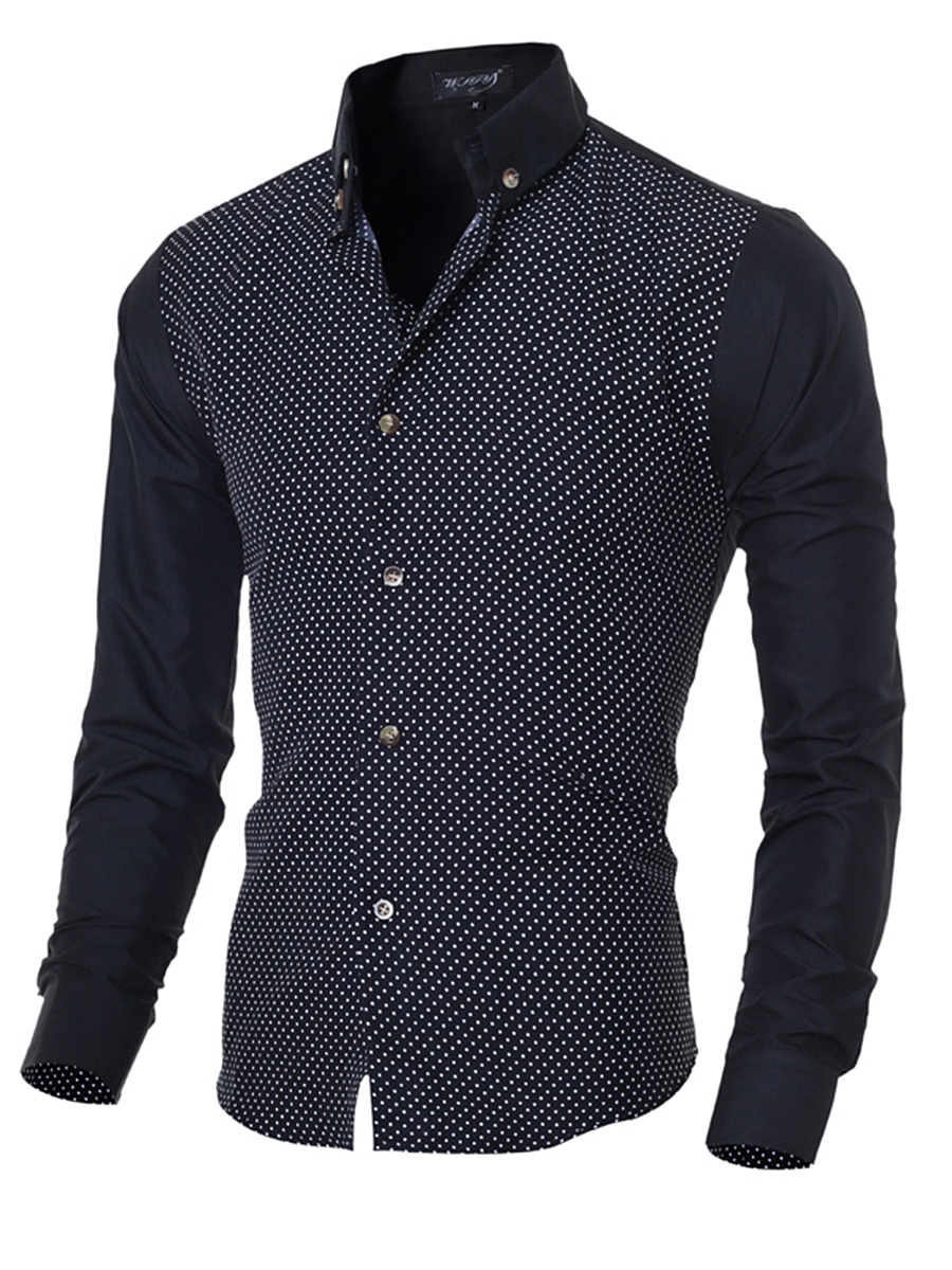 Button Down Collar Polka Dot Men Shirts