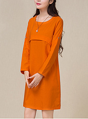 Linen Casual Round Neck  Plain Shift Dress