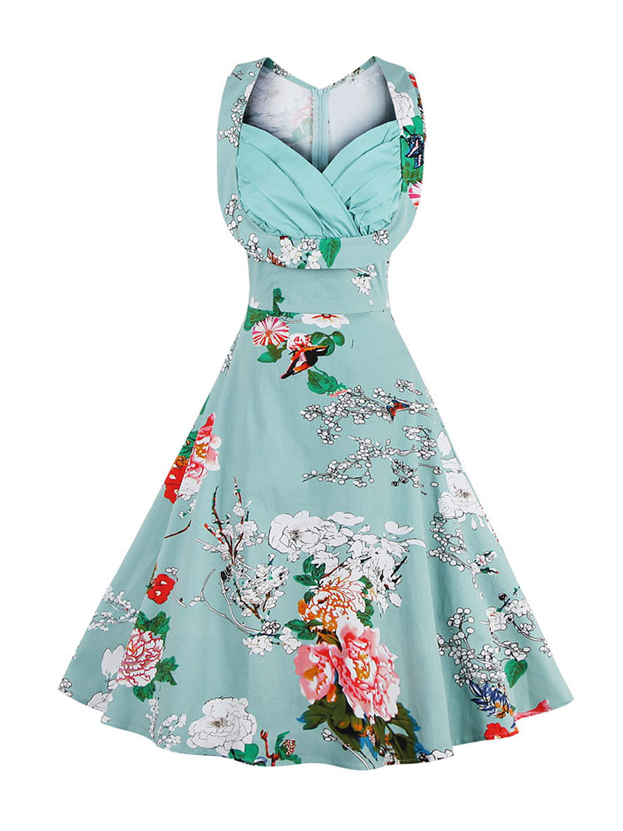 Chic Floral Printed Sweet Heart Plus Size Flared Dress