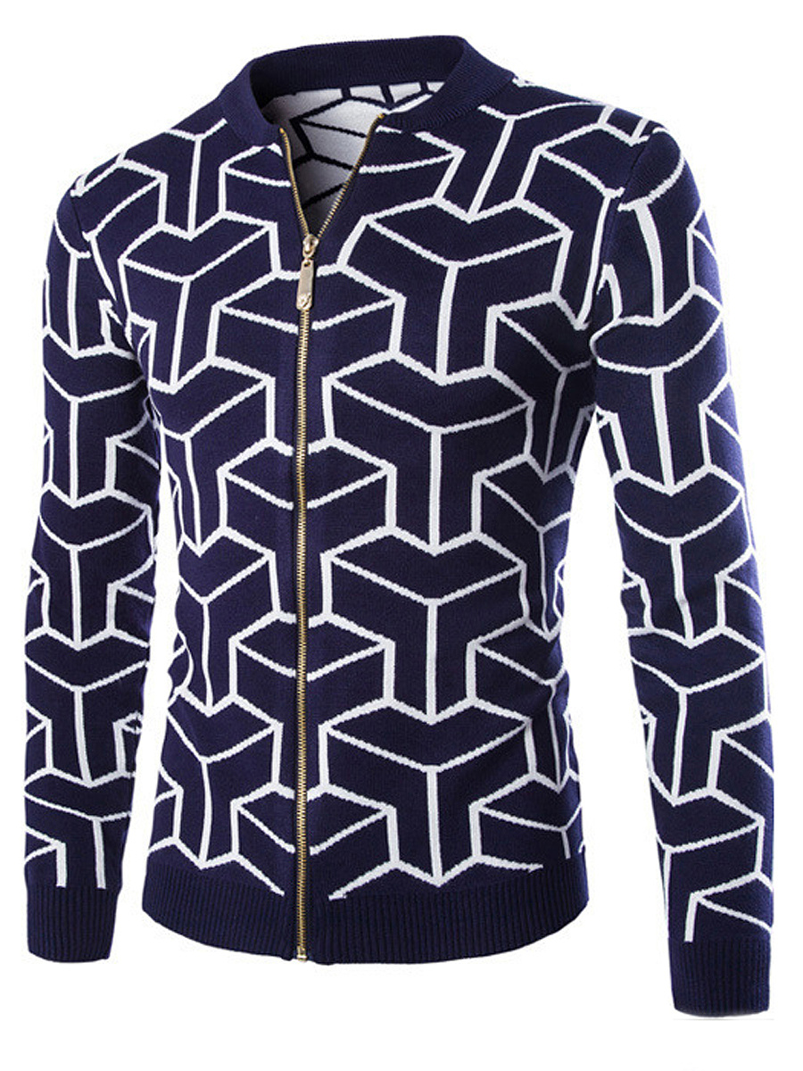 Band Collar Zips Geometric Men'S Cardigan