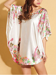 Paisley Printed Satin Nightgown